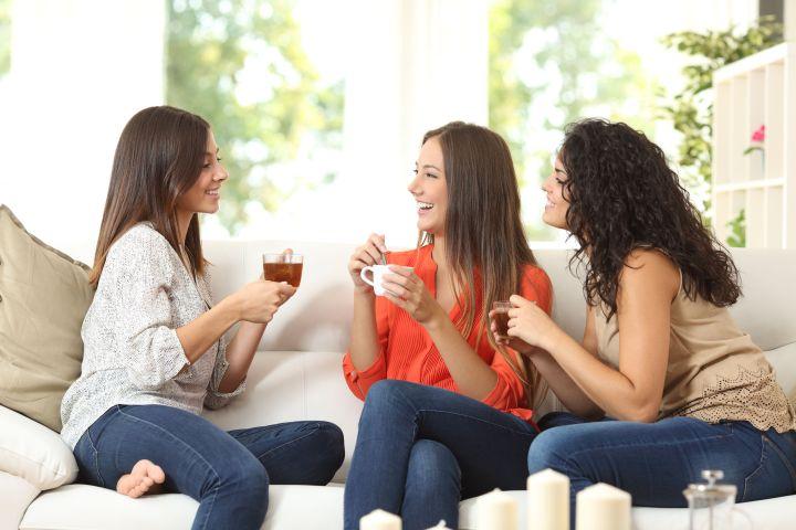 women tea couch
